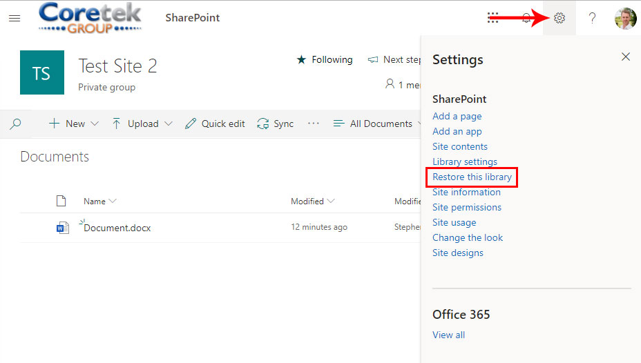 SharePoint Library Restore Image 1