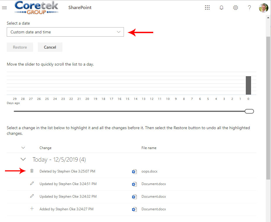 SharePoint Library Restore Image 2